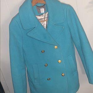 J. Crew Turquoise Wool Mix Coat Size 6